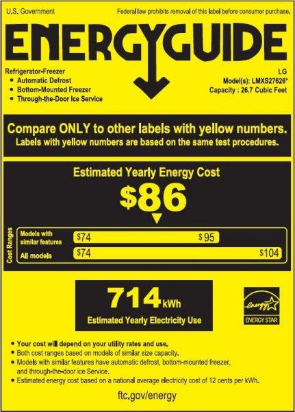 LG Stainless Steel 4 Door Refrigerator Energy Star