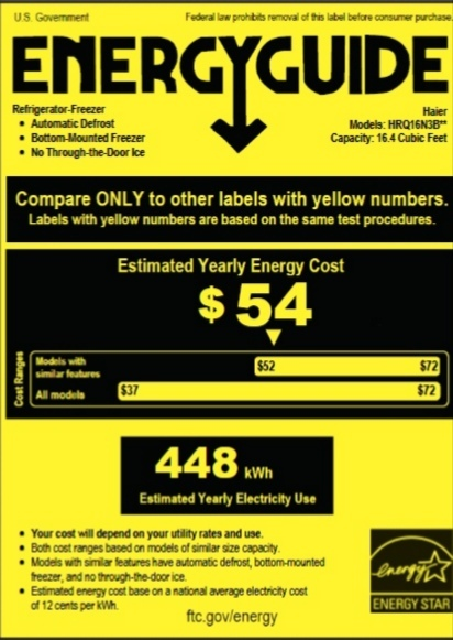 Haier 16.0 Cu. Ft. 4 Door Bottom Freezer Refrigerator Energy Star Rating